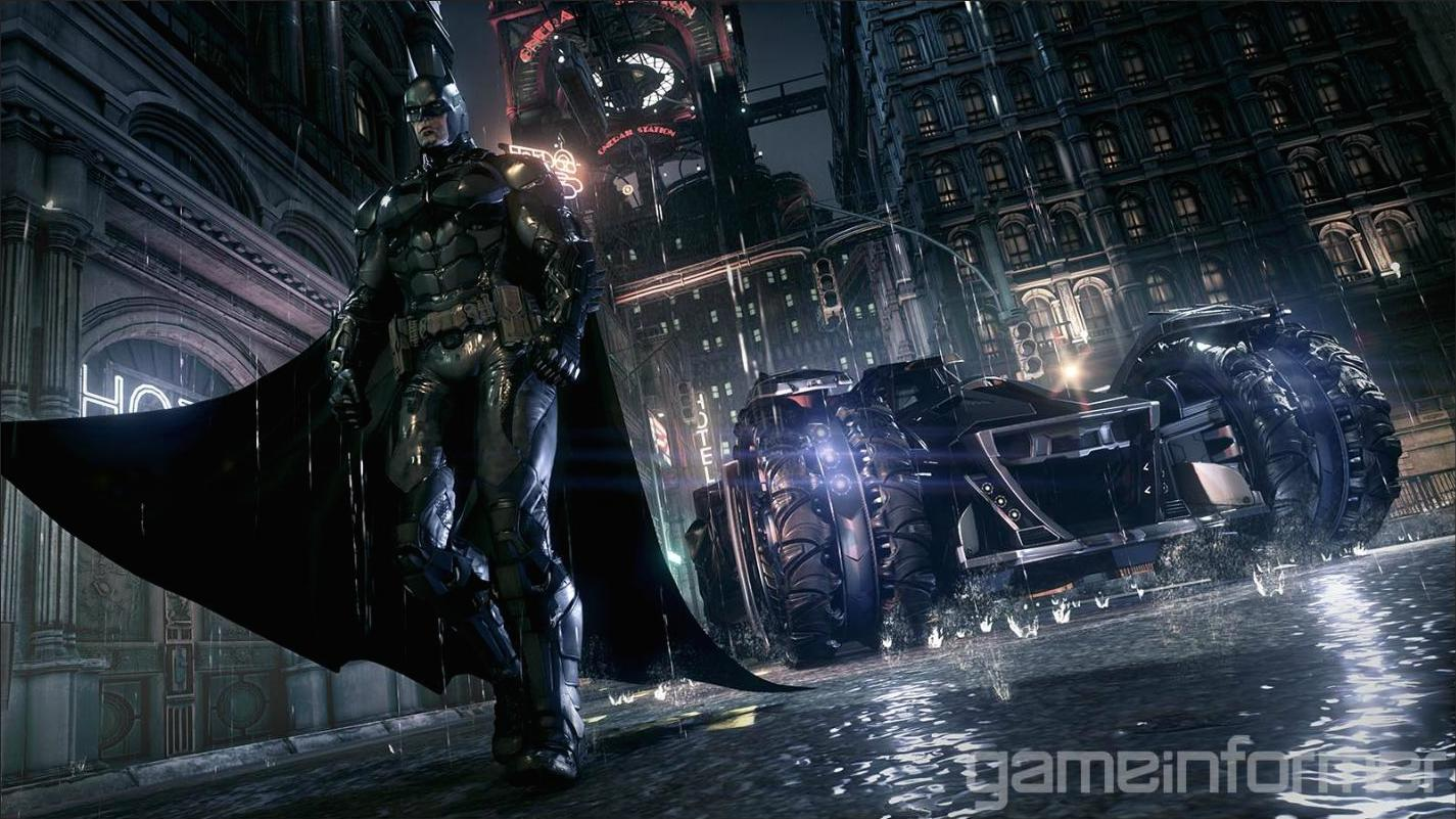 Batman and the Batmobile from 'Arkham Knight'