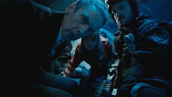 Peter Capaldi, Jenna Coleman & Ben Crompton in 'Into the Dalek'