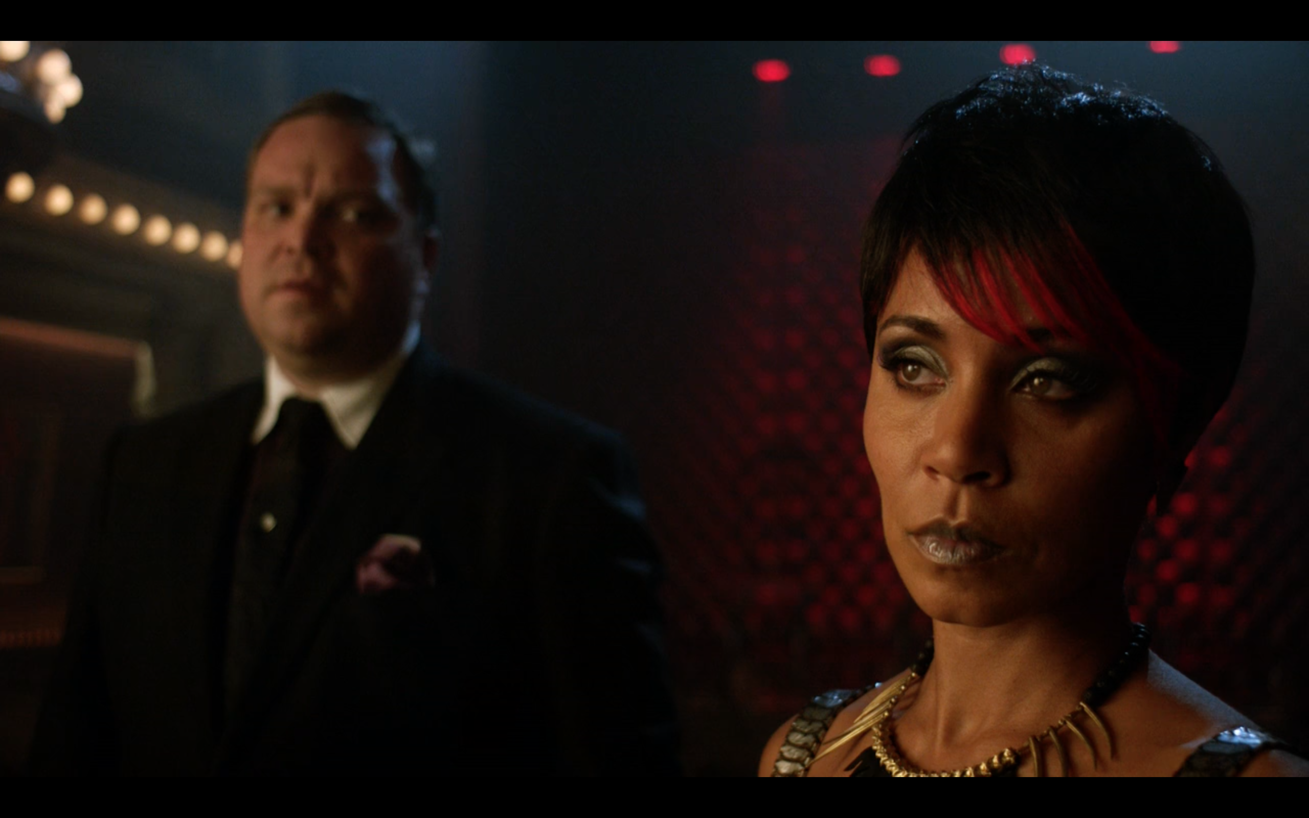 Jada Pinkett Smith as Fish Mooney and Drew Powell as Butch Gilzean in 'Gotham'