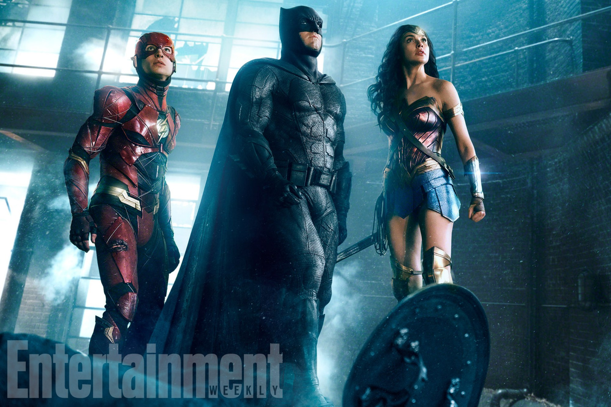 Ezra Miller, Ben Affleck and Gal Gadot in 'Justice League'