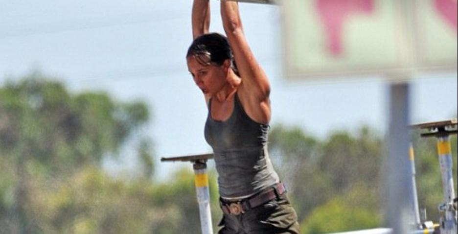 Alicia Vikander on the set of 'Tomb Raider'
