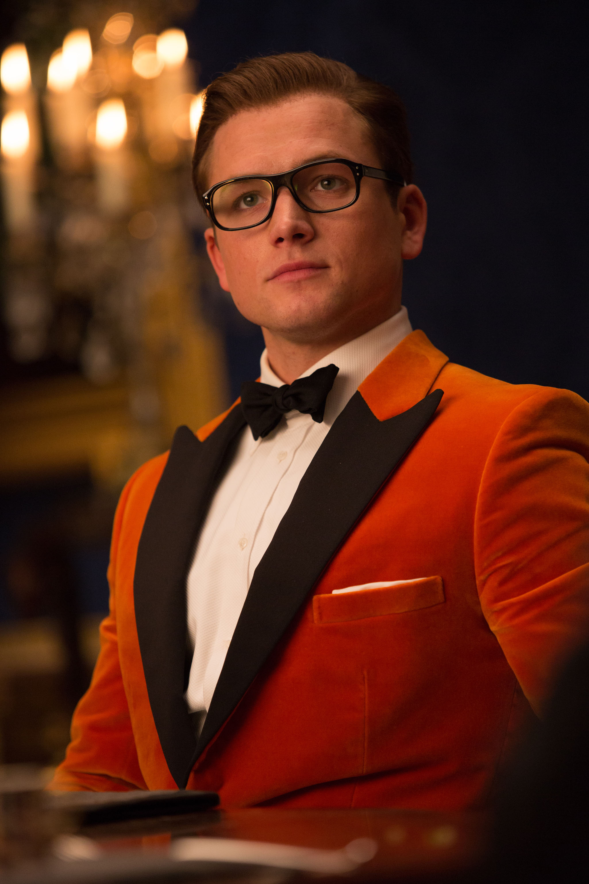 "DF-24830 - Taron Egerton stars in Twentieth Century Fox's ""Kingsman: The Golden Circle,"" also starring Colin Firth, Julianne Moore, Halle Berry, Mark Strong, Elton John, Channing Tatum and Jeff Bridges. Photo Credit: Giles Keyte."