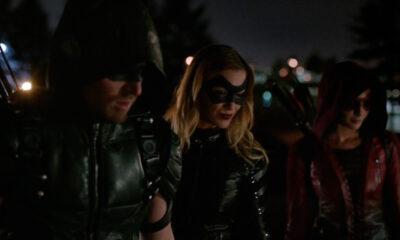 Stephen Amell, Katie Cassidy & Willa Holland in 'Arrow' S04E07 'Brotherhood'