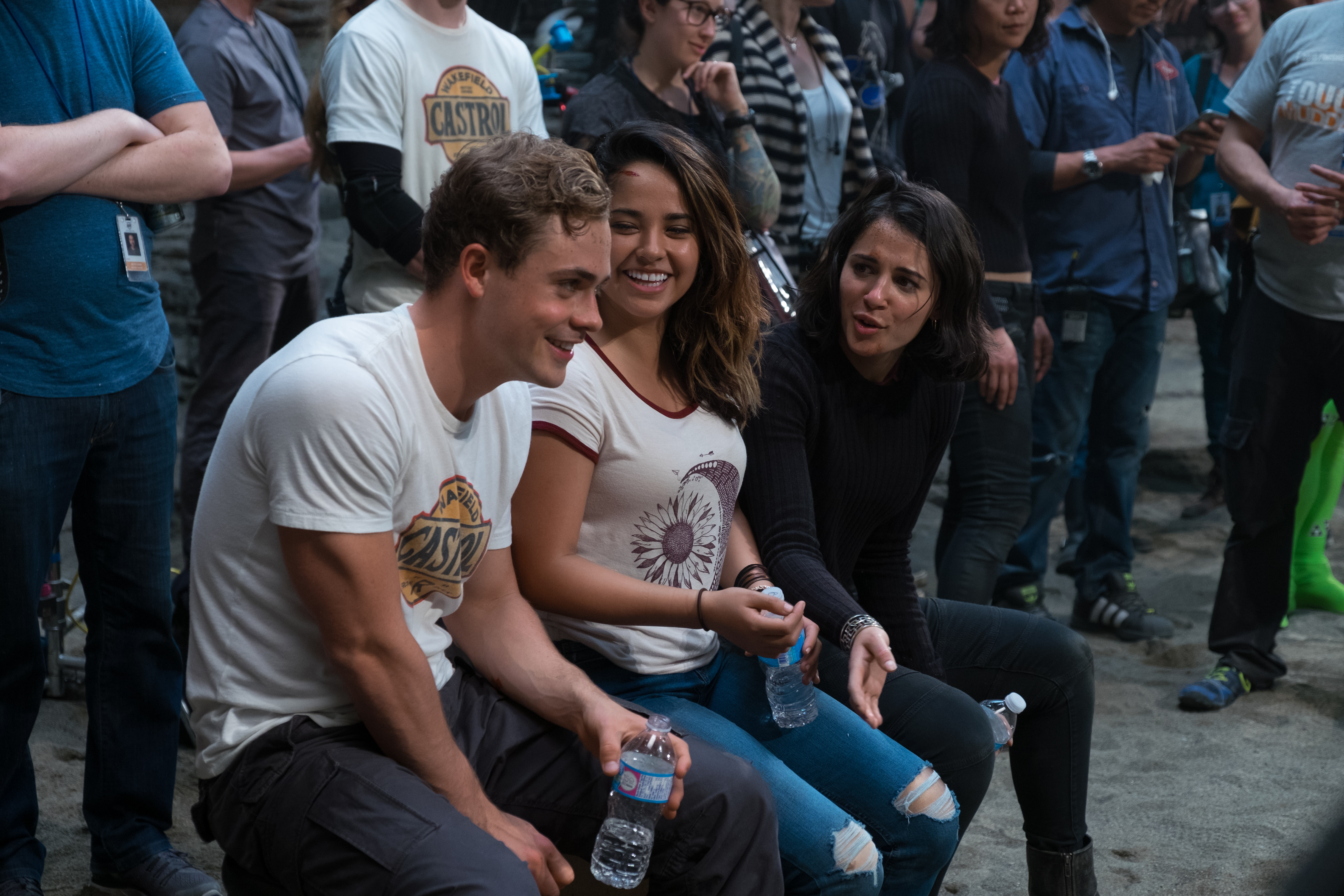 From L to R: Dacre Montgomery, Becky G and Naomi Scott on the set of SABAN'S POWER RANGERS. Photo by Kimberley French.
