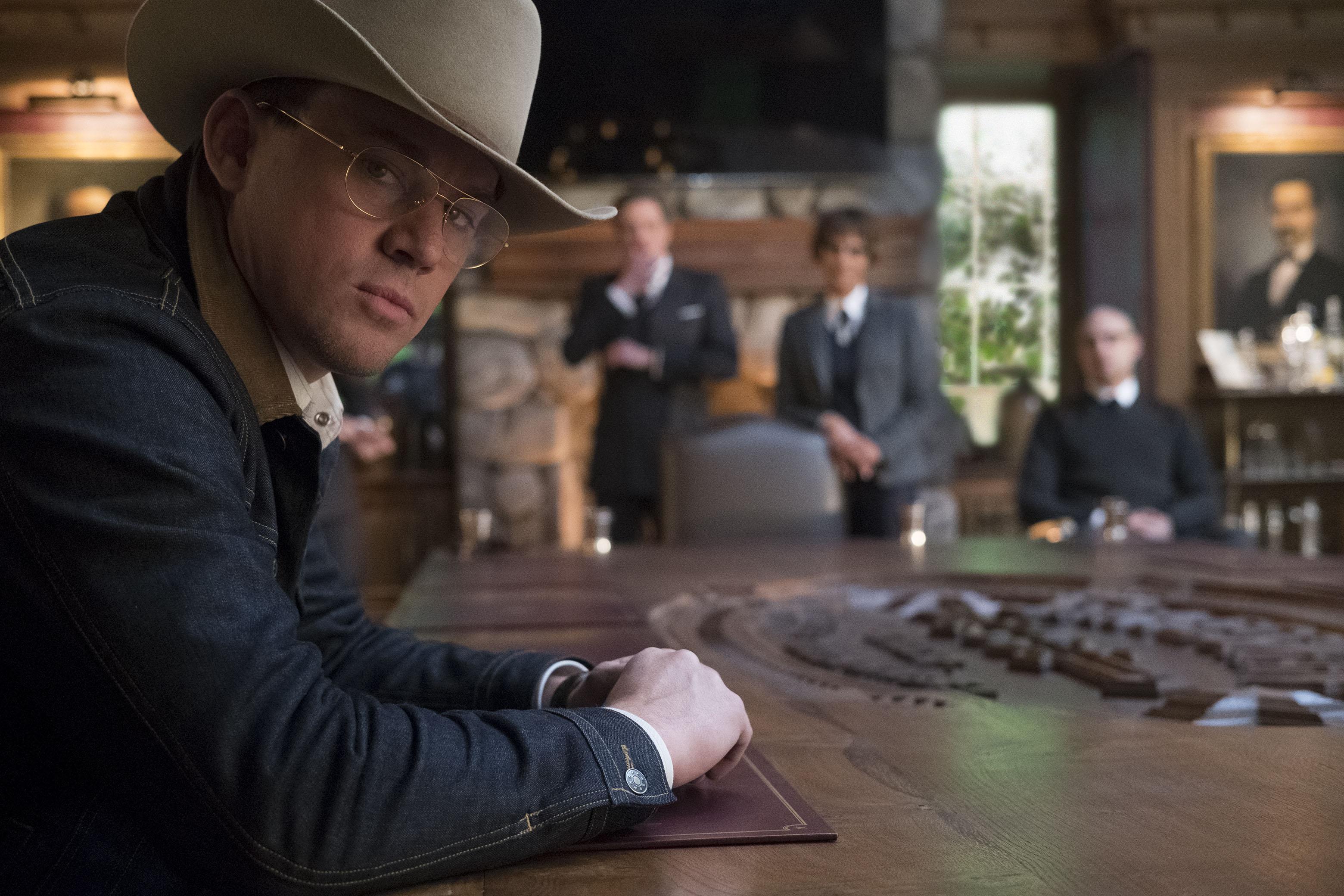 "DF-09632_r - Channing Tatum stars in Twentieth Century Fox's ""Kingsman: The Golden Circle,"" also starring Colin Firth, julianne Moore, Taron Egerton, Mark Strong, Elton John, Halle Berry and Jeff Bridges. Photo Credit: Giles Keyte."
